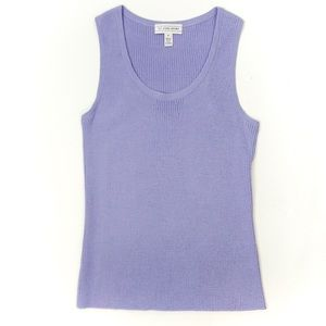 St. John Santana Knit Tank Top Pale Purple Size P